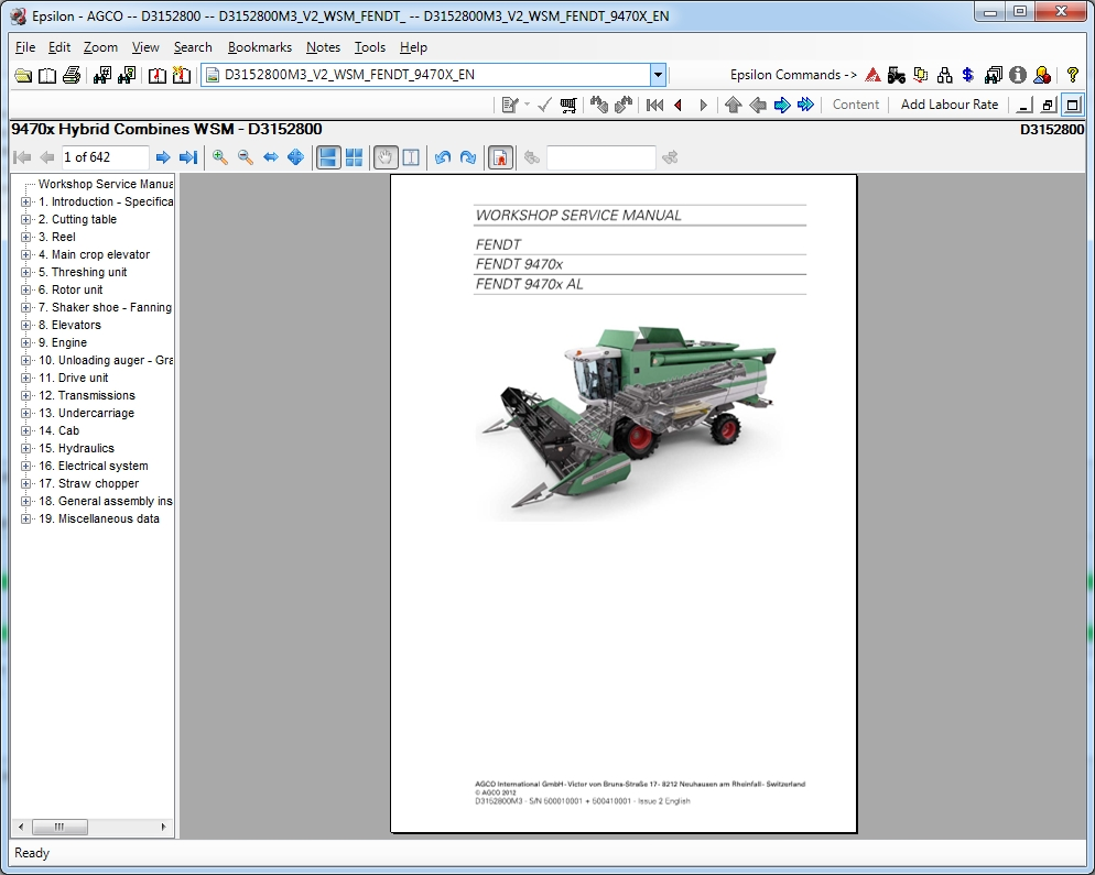 <b>FENDT EUROPE / PARTS CATALOG AND MANUALS [05/2018]</b><br>Parts catalog and manuals for Fendt Europe