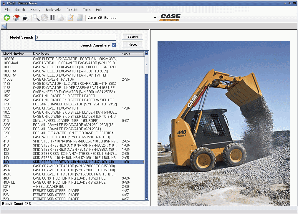 <b>CASE CE Europe 2011</b><br>Parts catalog for european Case CE construction equipment