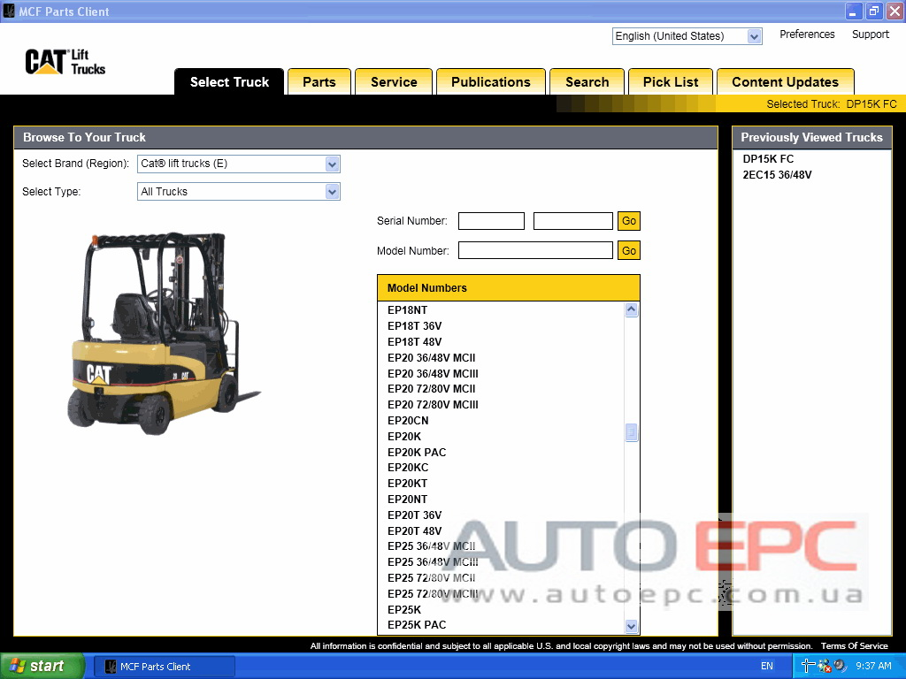 <b>Caterpillar Forklift MCFA + PUBLICATIONS [05/2019]</b><br>Electronic parts catalog for CAT Lift Trucks
