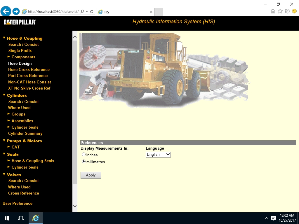 <b>Caterpillar Hydraulic Information System (HIS / HCIS) 2011</b><br>Information about hydraulic components of Caterpillar machines