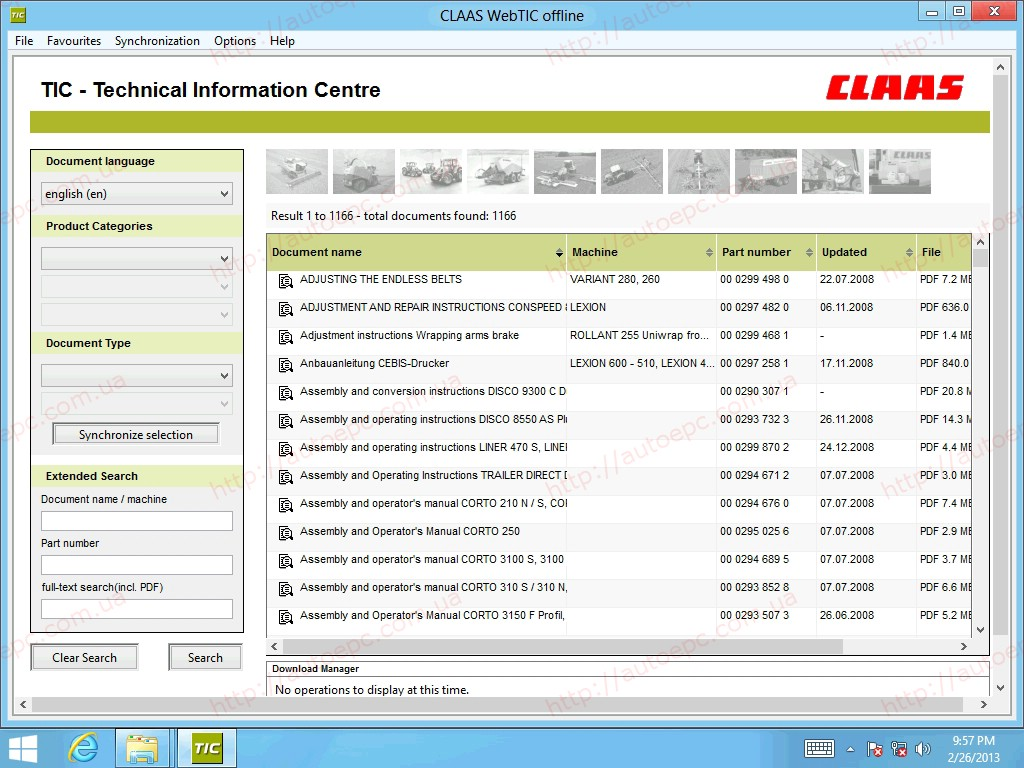 <b>Claas WebTIC Offline</b><br>Repair manuals, wiring and hydraulic diagrams, etc.