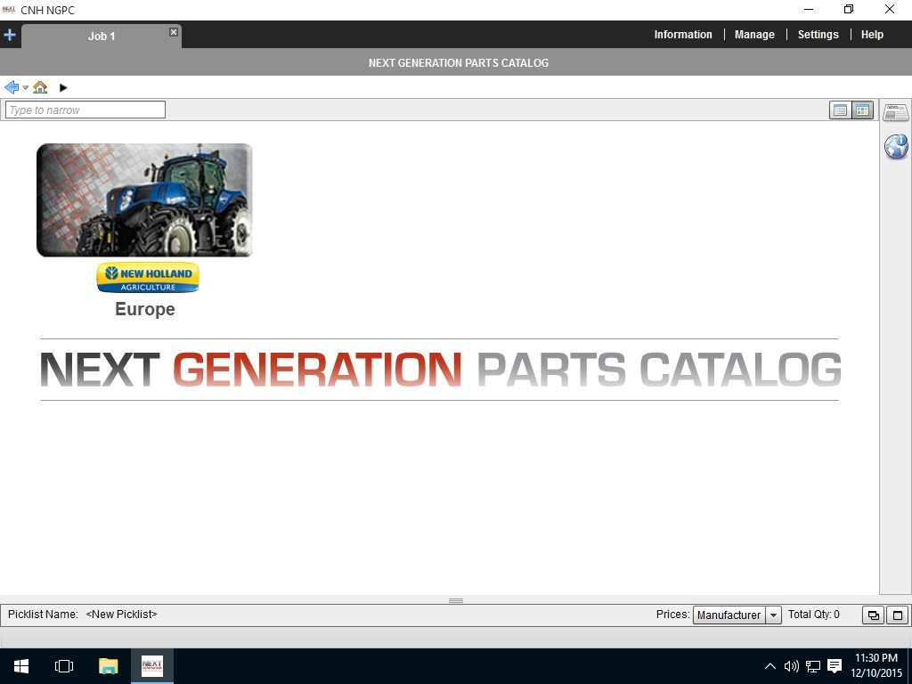 <b>New Holland AG Europe 2016</b><br>Parts catalog for european New Holland agriculture equipment