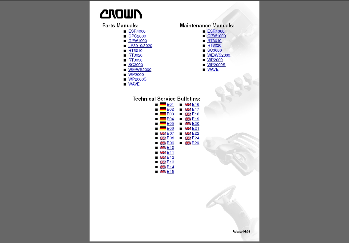 <b>Crown Forklift</b><br>Parts catalogs and maintenance manuals for Crown forklifts