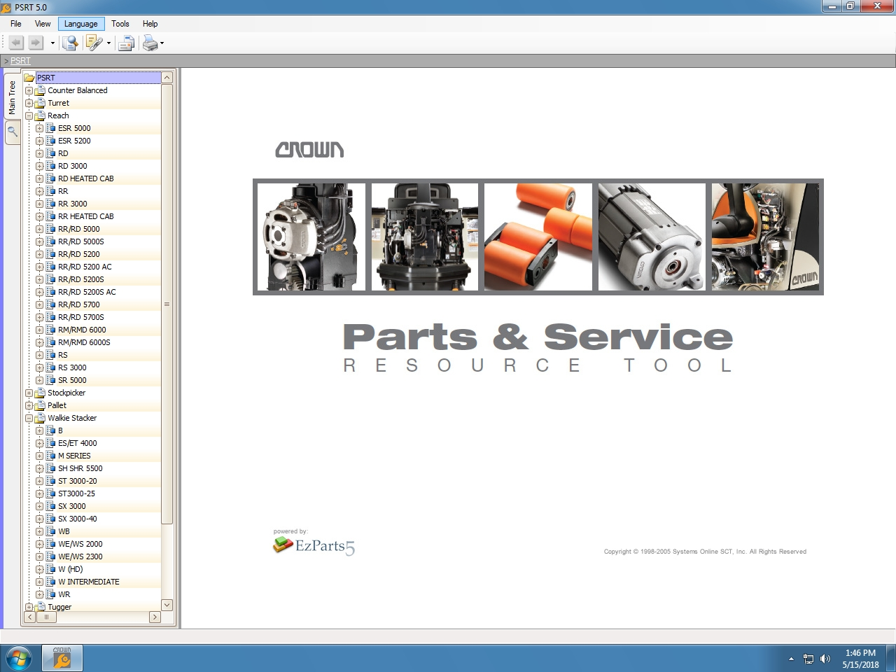 <b>CROWN FORKLIFTS PARTS & SERVICE RESOURCE TOOL PSRT [01/2019]</b><br>Spare parts catalog, repair manuals, wiring and hydraulic diagrams