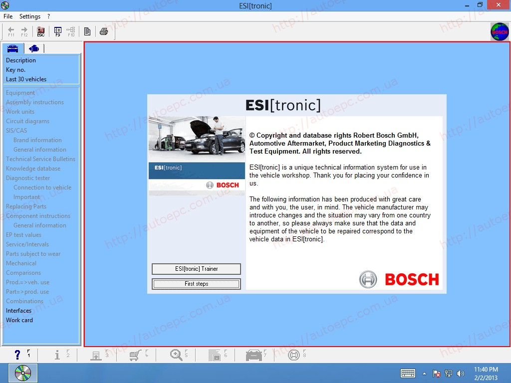 <b>Bosch ESI[Tronic] 2016/1 3DVD</b><br>Parts catalog, service information and wiring diagrams
