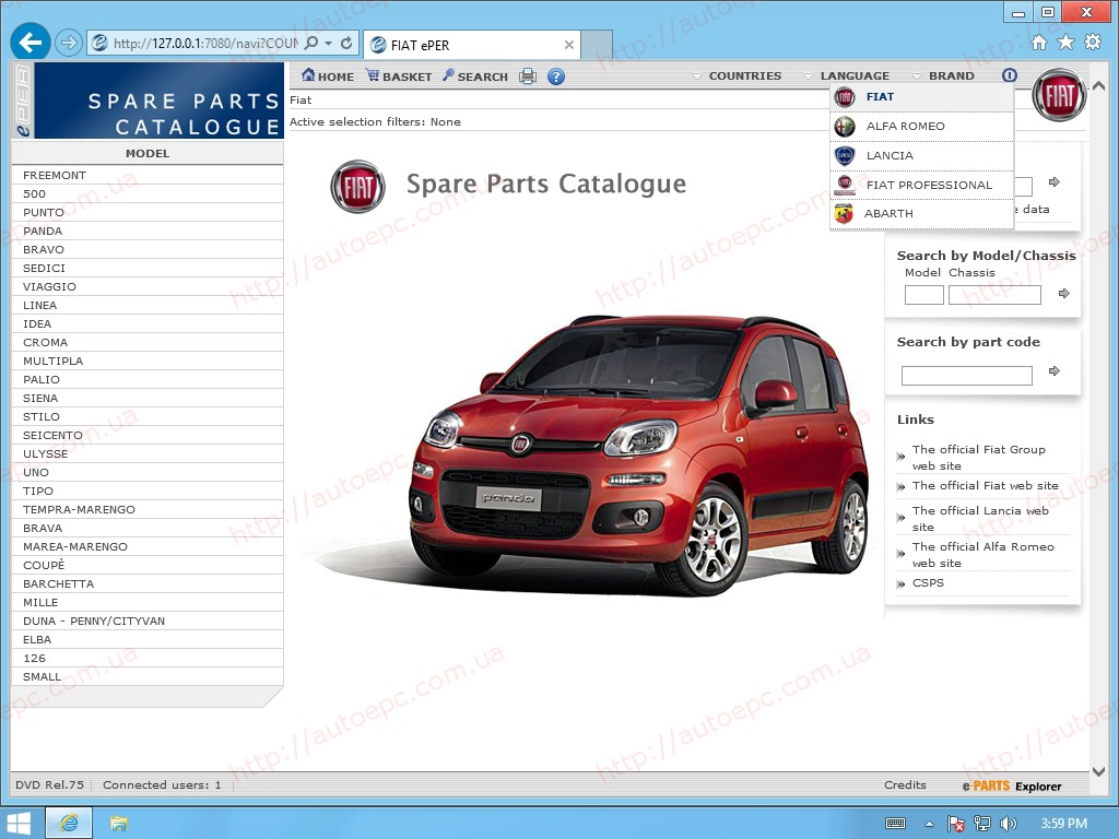 <b>Fiat, Lancia, Alfa Romeo, Abarth, Fiat Commercial [03-2018] <sup><font color=#C83B00 size=1>#REMOTE</font></sup></b><br>ePER, data version - DVD rel. 84