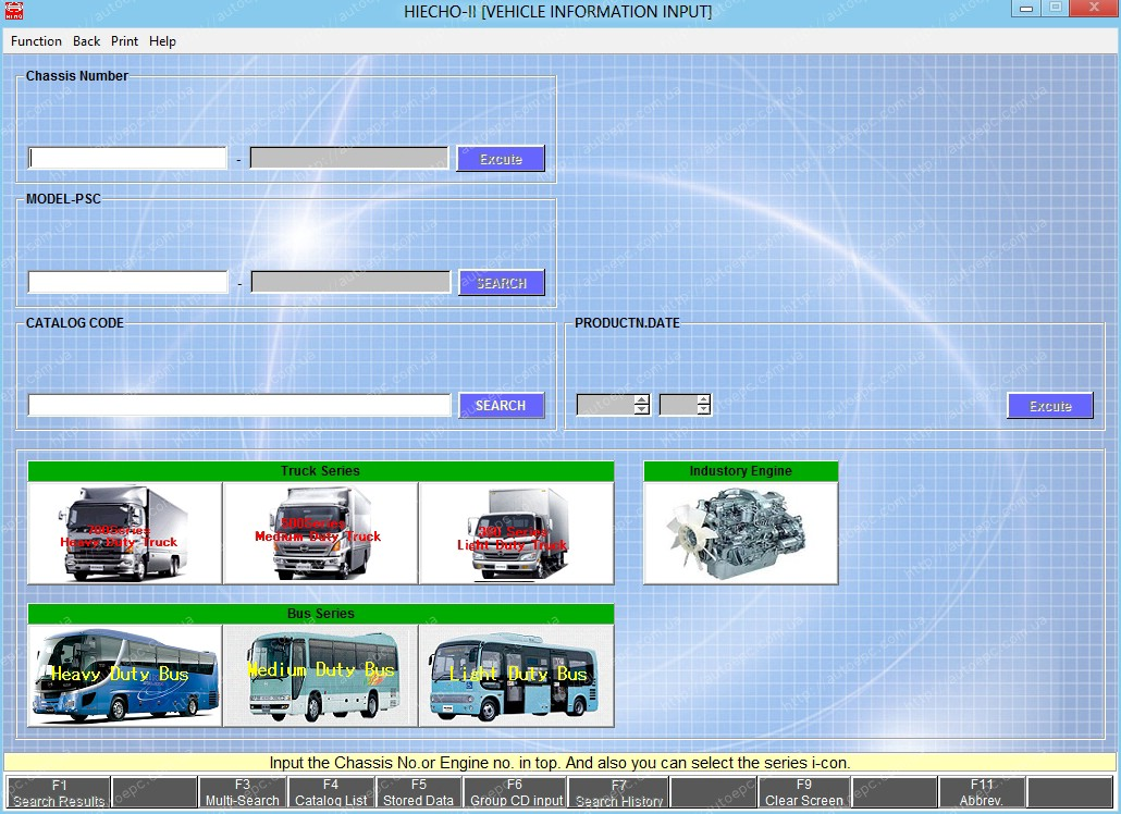 <b>Hino Trucks - Light / Medium / Heavy (LHD & RHD) [03/2016]</b><br>Hino trucks and busses. VIN search is available.