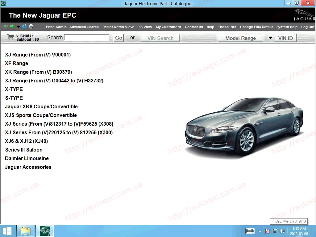<b>Jaguar JEPC 2014</b><br>Parts catalog for Jaguar