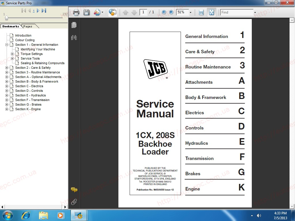 <b>JCB SPP Parts Catalog 2.00 / 2017 + Service Manuals 2017</b><br>ParsPro 1.17.2, electronic parts catalog and service manuals for all JCB models