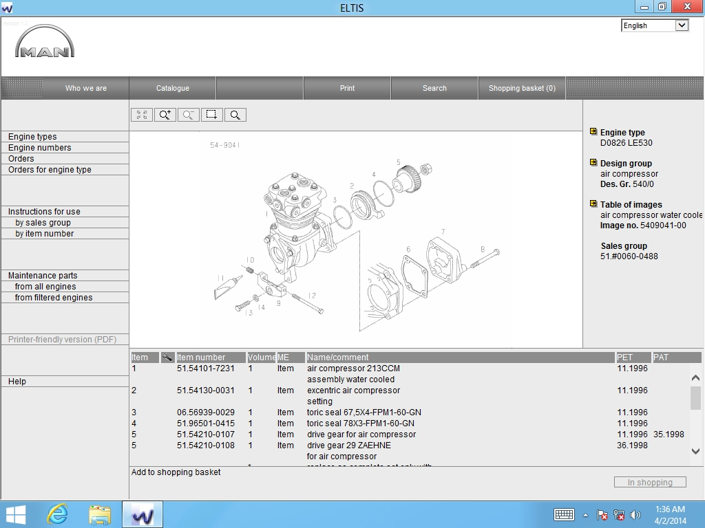 <b>Man Eltis 3 [01/2013]</b><br>Parts catalog for industrial / marine / automotive MAN  engines