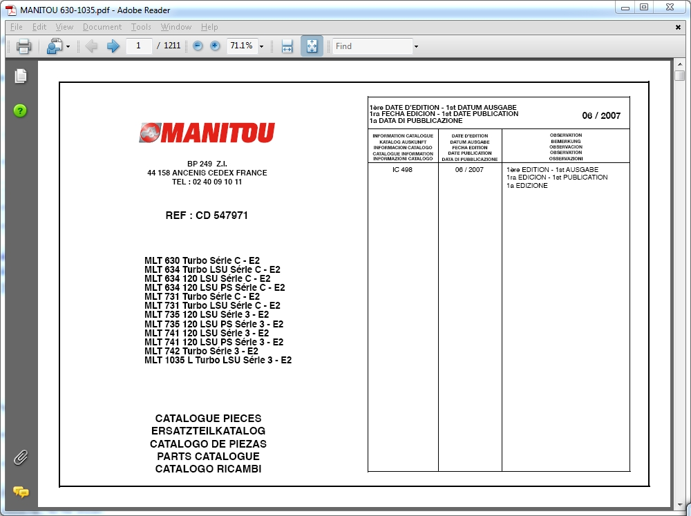 <b>Manitou Forklift 2016</b><br>Parts catalogs, service manuals and operator's manuals