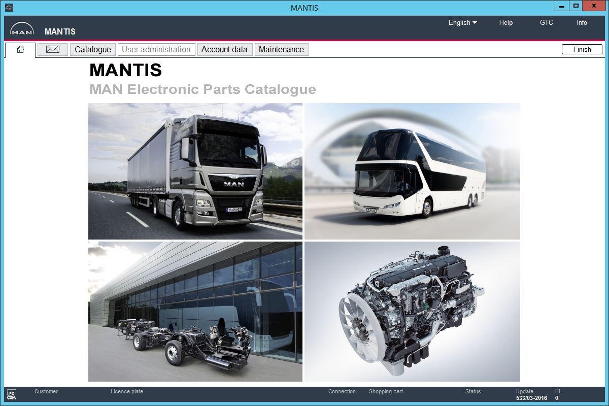 <b>Man Mantis v533 [03/2016] <sup><font color=#C83B00>NEW</font></sup></b><br>Parts catalog for MAN trucks / buses / engines, data update version - 533