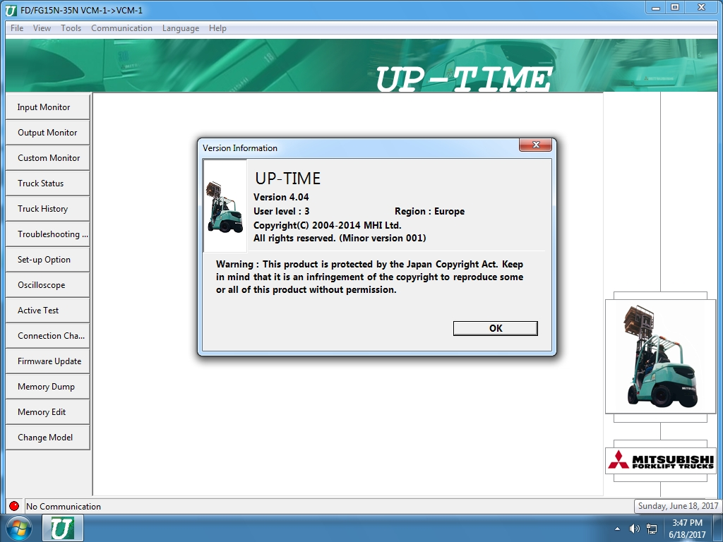<b>Mitsubishi UpTime v4.04</b><br>Diagnostic software for Mitsubishi lift trucks