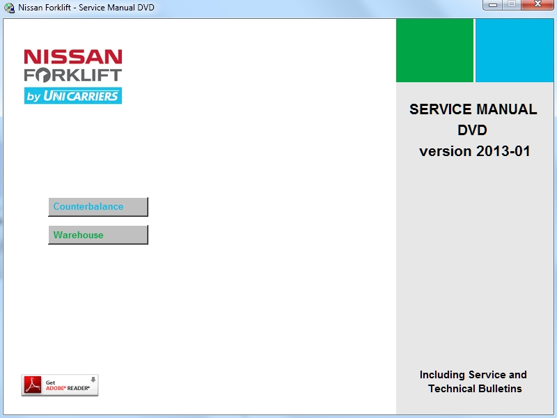 <B>Nissan Forklift Service Manuals 2013</b><br>Service manuals and service bulletins for Nissan warehouse equipment