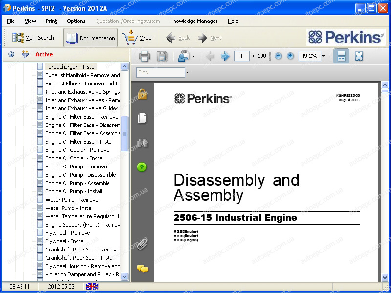 <b>Perkins SPI2 2018A</b><br>Service manuals and parts catalog for Perkins equipment