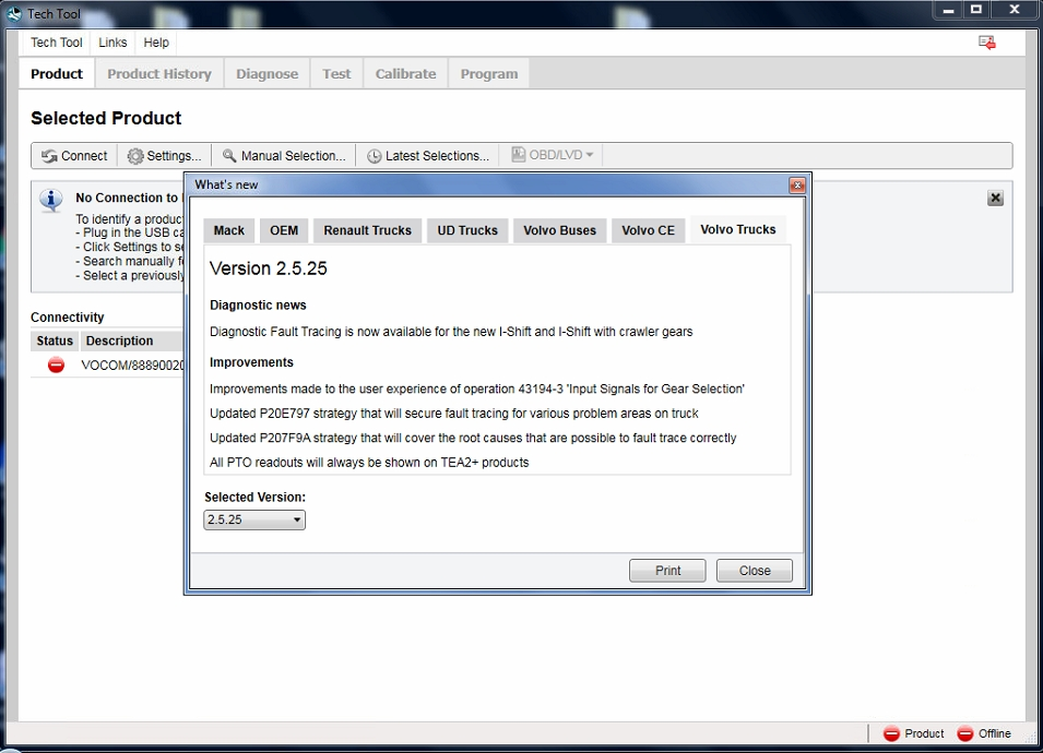 <b>Volvo Tech Tool 2.5.25 (PTT / VCADS)</b><br>Volvo PTT is the disgnostic software for Volvo trucks / buses / heavy equipment