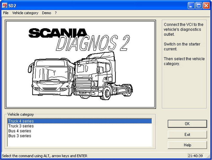 <b>Scania VCI-1 Diagnostic Kit</b><br>Diagnostic adapter for Scania trucks and buses equiped with VCI-1 control module