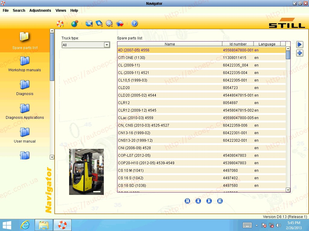<b>STILL STEDS 8.20 R2 PARTS & REPAIR 2020</b><br>Version D8.20 (Release 2). Lift trucks, fork lifts, original spare parts, workshop manual, diagnosis, user manual and etc.