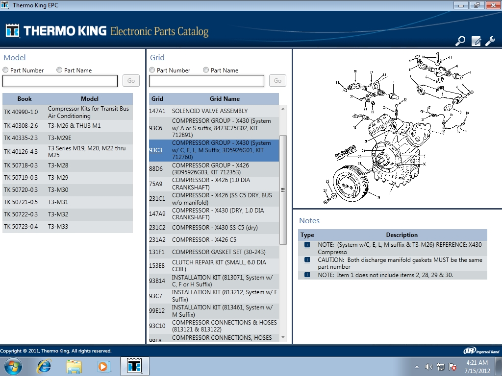 <b>Thermo King 2012</b><br>Electronic parts catalog for Thermo King equipment