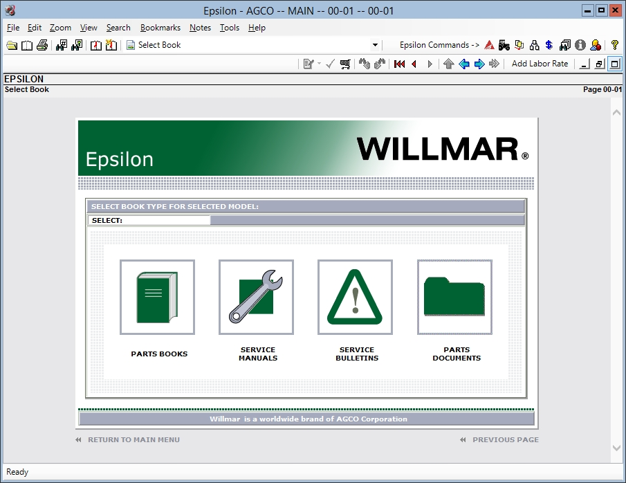 <b>WILLMAR [05/2018]</b><br>Parts catalog for Willmar agricultural equipment