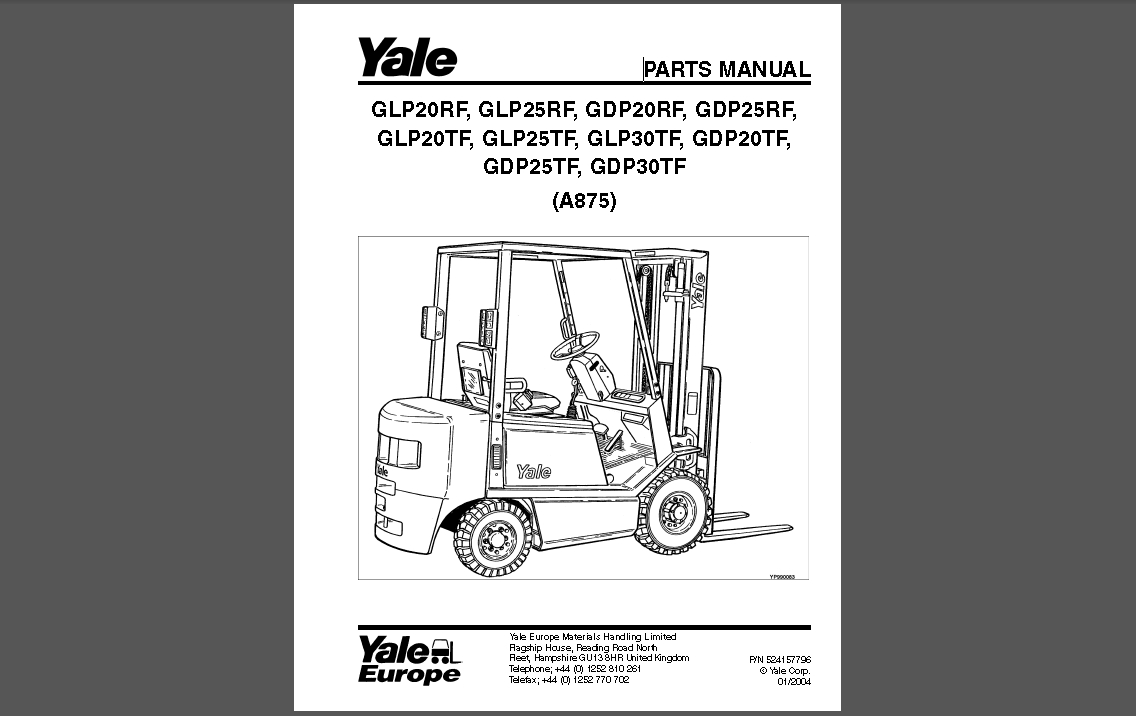 <b>YALE PARTS CATALOG 2015 (PDF)</b><br>Parts catalogs for Yale, PDF