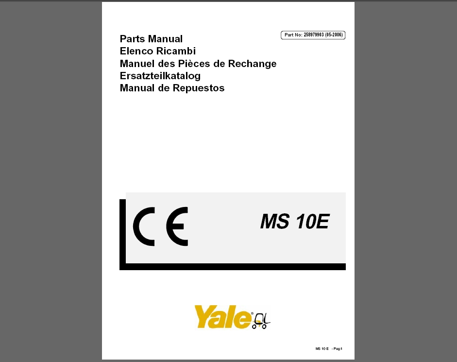 <b>YALE PARTS CATALOG (PDF)</b><br>Parts catalogs for Yale, PDF